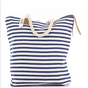 Summer and Rose Tote blue & white stripe w/rope